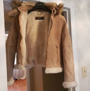 Suede and faux fur Baby Phat coat